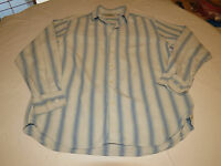 Tommy Bahama Men's long blue white sleeve button shirt L striped silk GUC @
