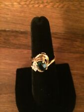 18K HGE Size 7 1/2 Faux Emerald Green and Crystal Ring