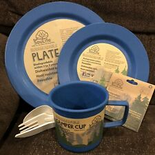 EcoSouLife Biodegradable Reusable Dish Set Plate Cup Cutlery Camp Outdoor Hike