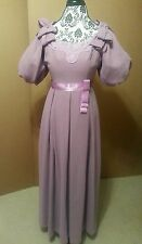 Vintage Purple Lace Ribbon Bridemaid Prom  Formal Ball Gown Dress