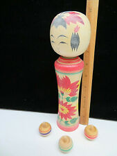 Vintage Large Japanese Wood Kokeshi Doll w/ 3 Tops