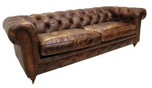 Chesterfield Luxury Vintage Distressed Real Leather 3 Seater Sofa Tobacco Brown