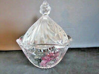 Vintage Covered Crystal Candy Dish With Colored Grape And Strawberry Design