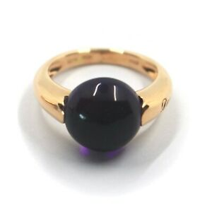 SOLID 18K ROSE GOLD RING WITH CENTRAL 12mm CABOCHON AMETHYST, ITALY MADE