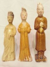Asian Antiques Chinese Tang Dynasty, Pottery Women & Men Statue-Sold by 3 Pcs