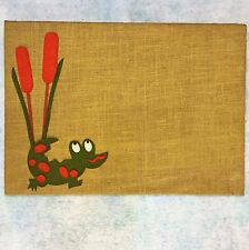 BULLETIN Message Memo Tack BOARD Burlap & Felt Fabric Alligator~Marsh Cattail