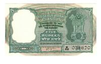 Vintage Banknote India 1957 - 1962 5 Rupees Crisp UNC Pick 35b US Seller