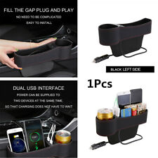 Car Left Side Seat Gap Slit Pocket Storage Organizer 2USB Cup Holder Accessories