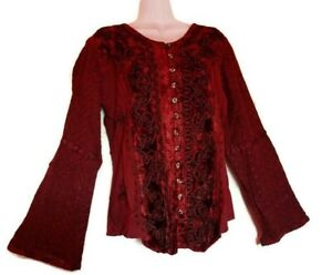 Holy Clothing Velvet Button Up Corset  Embroidered Top Women S Wine Bell Sleeve