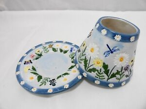 Yankee Candle Small Shade & Plate Daisies Butterflies Flowers Spring