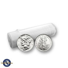 Lot of 50 - New 1/10 oz Mercury Design .999 Fine Silver Rounds Tube Roll