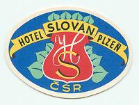 PLZEN CZECHOSLOVAKIA CZECH REPUBLIC HOTEL SLOVAN VINTAGE LUGGAGE LABEL