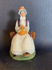 Royal Doulton Rest Awhile Figurine Hn 2728 1980 Lady Sitting With Basket