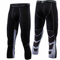 Mens Workout 3/4 Compression Pants Sports Base Layer Under Skin Tights Black Gym