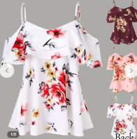 Women Summer Loose Casual Off Shoulder Floral Shirt Tops Blouse Ladies Tops CI