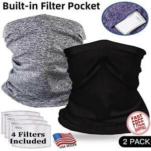 Neck Gaiter Face Mask with Filter - 2 Pack - Tube Neckerchief Balaclava Bandanna