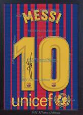 Lionel Messi t shirt Barcelona photo signed printed on CANVAS 100% COTTON Framed