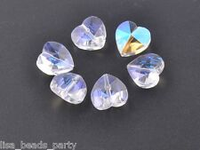 20pcs 14x9mm Faceted Heart Crystal Glass Charms Loose Spacer Beads Clear AB