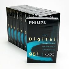 10 x Blank Philips DCC 90 Minutes Digital Compact Cassette 1st Gen New & Sealed