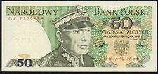 1988 POLAND 50 ZLOTYCH BANKNOTE * GR 7729656 * UNC * P-142c *