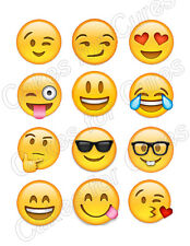 Emoji Emoticon edible party cupcake toppers cupcake image sheet