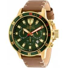 Invicta Men's Watch I-Force Chronograph Green Dial Brown leather Strap 31398
