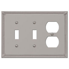 IMPERIAL BEAD BRUSHED NICKEL 2 TOGGLE / 1 DUPLEX (2 plugs) SWITCHPLATE WALLPLATE