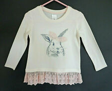 Girl's Pale Pink Long Sleeve T-shirt with Rabbit & Lace - Size 3 - Brand: Target