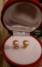 Regalo di compleanno Splendida AKOYA Pearls impostata sull' oro placcato EARINGS. ROSE box.
