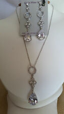 SPECIAL OCCASION & BRIDAL CUBIC ZIRCONIA PLATINUM PLATED NECKLACE & EARRING SET