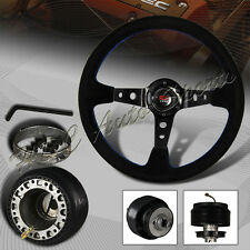 For 1996-2000 Honda Civic 350mm 6 Hole Black Deep Dish Steering Wheel + Hub