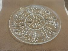 Vintage Glass Round Vegetable Tray, Divided Circle and Leaf Design