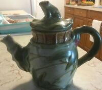 """Majolica-Teapot-Frog & Bamboo Design-Crackle Finish-7.5""""H-Green/Brown-Pottery!"""