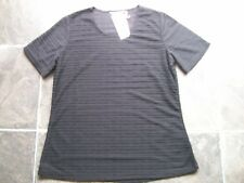 BNWT Women's Black Crinkle Polyester & Viscose Knit Short Sleeve Top Size 10