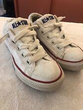 Kids Converse All Star White Leather Street Ox Sneaker Shoe Sz 12 Junior EUC