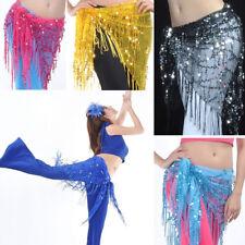 NEW Belt Skirt Fringes Sequin Shawl Belly Dance Tribal Tassel Hip Scarf Wrap T64