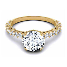 Round Cut 0.80 Carat Real Diamond Engagement Ring 14K Yellow Gold Size M N O P Q