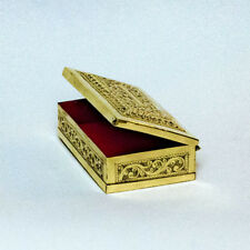 Brass Etched Handcrafted Gold Color Jewelery Box w/ Red Lining