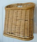 Hanging Wall Basket Wicker Rattan Mail Magazine Paper Holder Rustic Lodge
