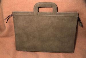 Vintage HAZEL Brand Brown Faux Leather Suede Bag Briefcase Attaché