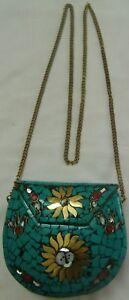 Handbag mosaic turquoise sling clutch ladies women purse brass metal chain