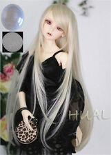 "7-8"" 1/4 BJD Blonde Long Wig LUTS Doll SD DZ DOD MSD Pullip Dollfie Hair +Cap"