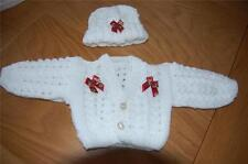 BABY LACY CARDIGAN & HAT IDEAL CHRISTMAS 3/6 months - -HAND KNITTED NEW