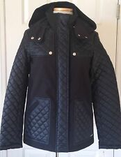$195 NWT Womens Kenneth Cole New York Quilted Hooded Jacket Barn Coat Black S