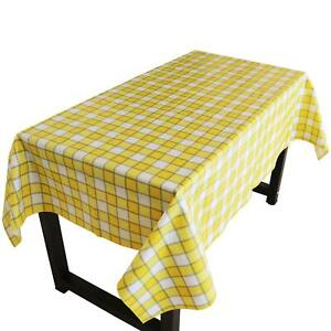 Yellow Plaid Plastic Tablecloth/ PVC Material with Nonslip Flannel Backing
