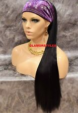 "30"" Human Hair Blend Straight Dark Brown Ponytail HairPiece Extension Heat OK #2"