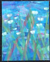 WHITE FLOWERS ON BLUE Original Acrylic Abstract Landscape Garden Painting 16x20