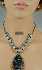 NEW! STUNNING SMOKEY SEAS BAROQUE PEARLS, LABRADORITE & CORAL Necklace Set 19.5""