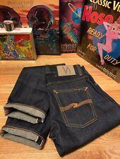 Men's NUDIE Grim Tim Redline Selvage Indigo Denim Jean. Made In Italy Size 28x32