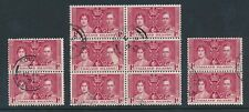 FALKLAND ISLANDS 1937 CORONATION 1d FINE USED in SOUTH GEORGIA + BLOCK 10 stamps